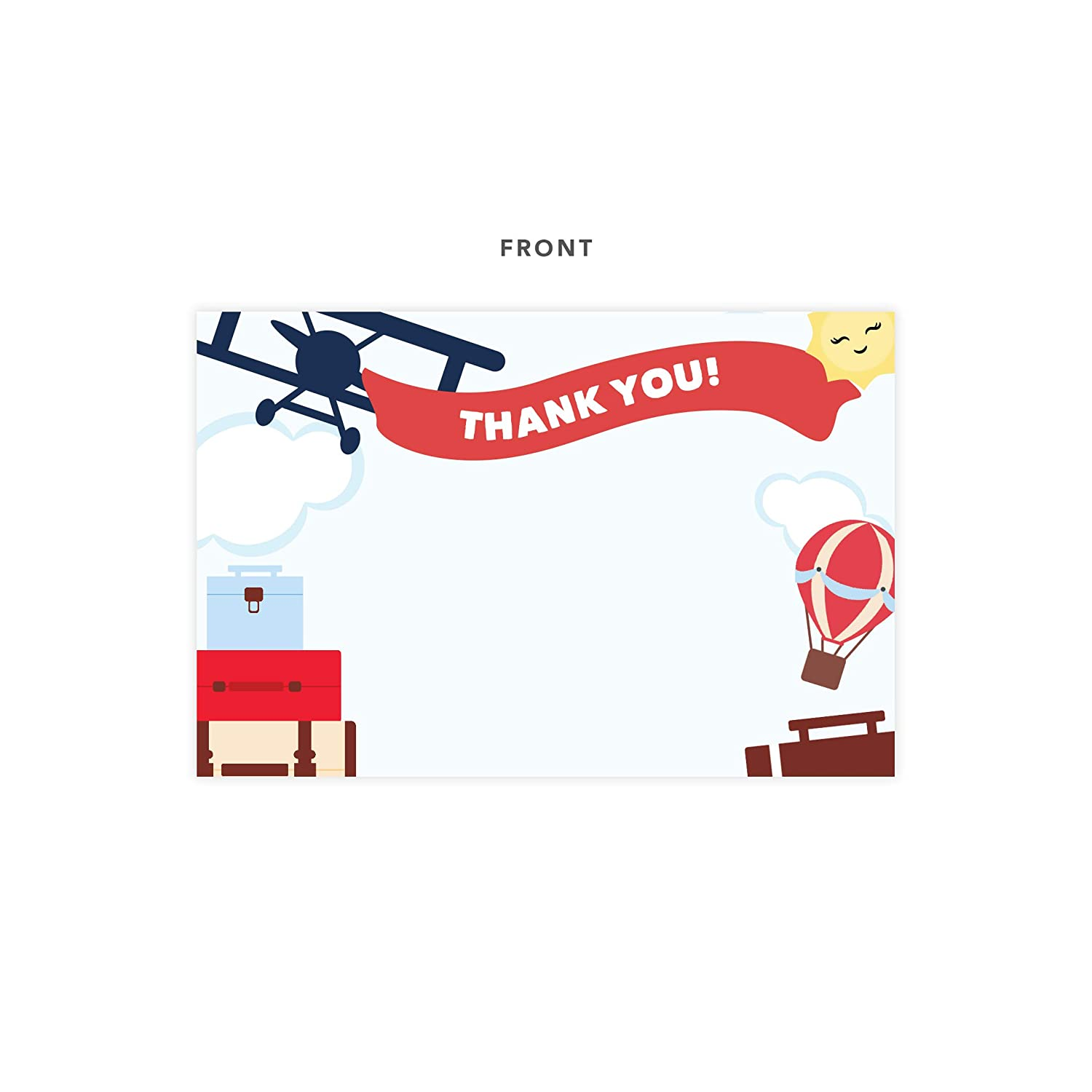 Airplane Thank You Cards With Envelopes /& Seal Stickers Bulk Birthday Party Bridal Blank Graduation Kids Children Boy Girl Baby Shower 25 Count 25ct