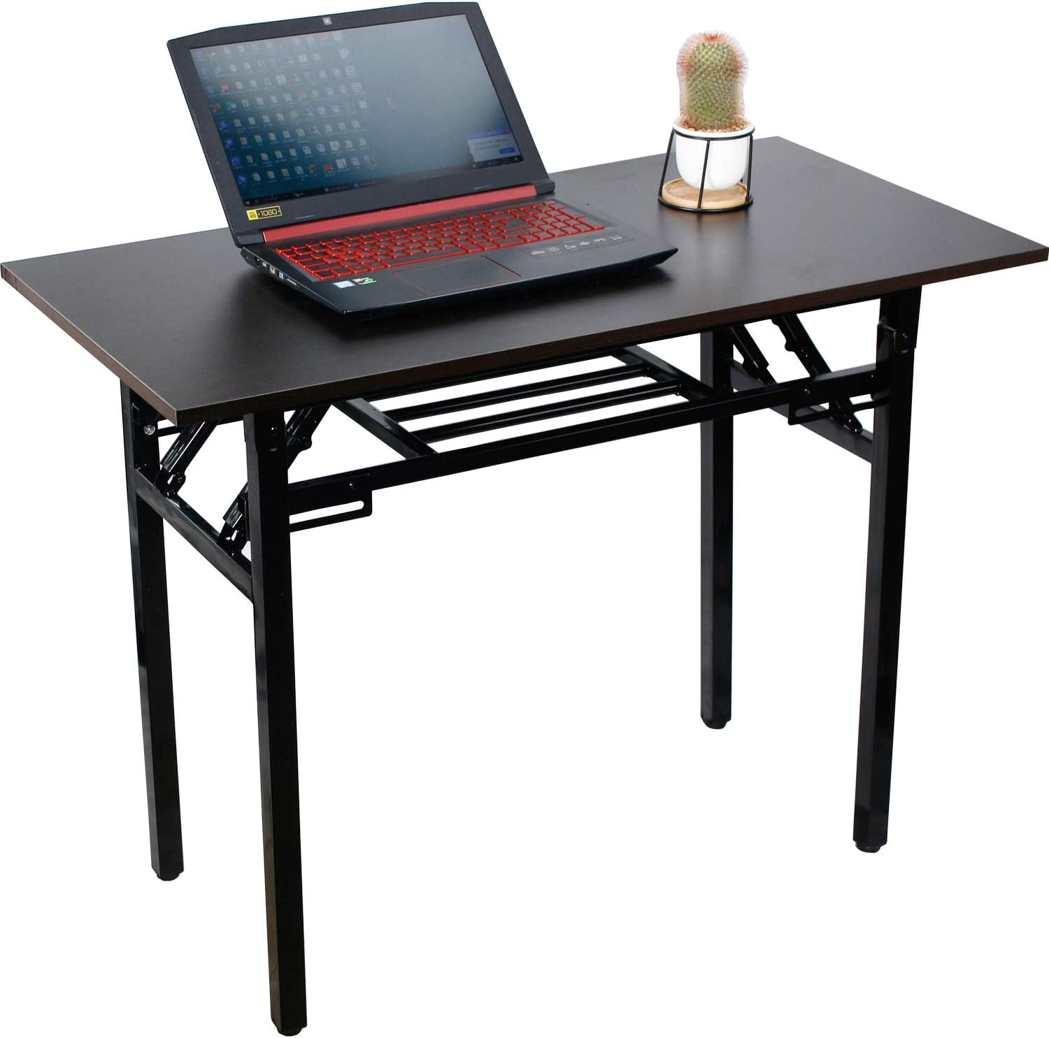 Folding Writing Computer Table Desk,No Assembly Required,Sturdy and Heavy Duty Modern Simple Work Study Desk Laptop Table for Home Office and Small Spaces,Black Metal Frame,Black Color,39.3x19.6x29.5""