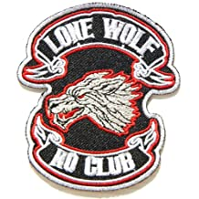 LONE WOLF NO CLUB Fox Dog Hog Outlaw Logo Lady Biker Rider Punk Rock Tatoo Jacket T-shirt Patch Sew Iron on Embroidered Sign Badge Costume