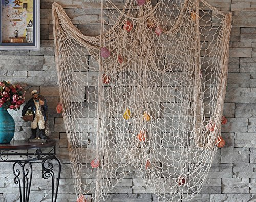 White Yagote Mediterranean Style Nautical Decorative Fishing Net with Shells for Home Party Room Decoration 1.5 X 2meter White (Decorative Shell)