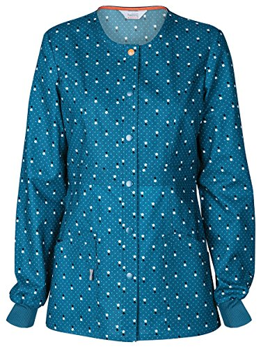 Code Happy Women's Snap Front Dot Print Warm Up Scrub Jacket Medium Print (Front Placket Print)