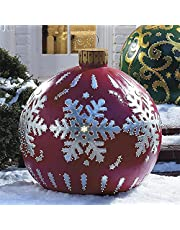 Outdoor Christmas PVC Inflatable Decorated Ball,Giant Christmas Inflatable Ball Christmas Tree Decorations, 23.6 in Christmas Inflatable Outdoor Decorations Holiday inflatables Balls with Pump (G)