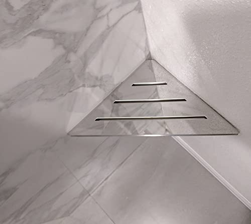 SereneDrains Stainless Steel Bathroom Shower Triangle Corner Shelf Foot Rest Prop Wall Mount 9 Polished Chrome Hardware Included Shower Shelf for Bathroom