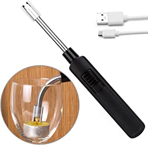 LOMATEE encendedor eléctrico cortavientos mechero Cocina eléctrica USB recargable para vela, hornillo, barbacoa, camping