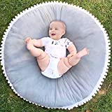 Per Baby Thickened Round Play Pad Crawling Mat Crawl Cushion With Little Balls Air-Conditioned Rug Bed Valance Decoration For Kids Children Toddlers Bedroom-Gray