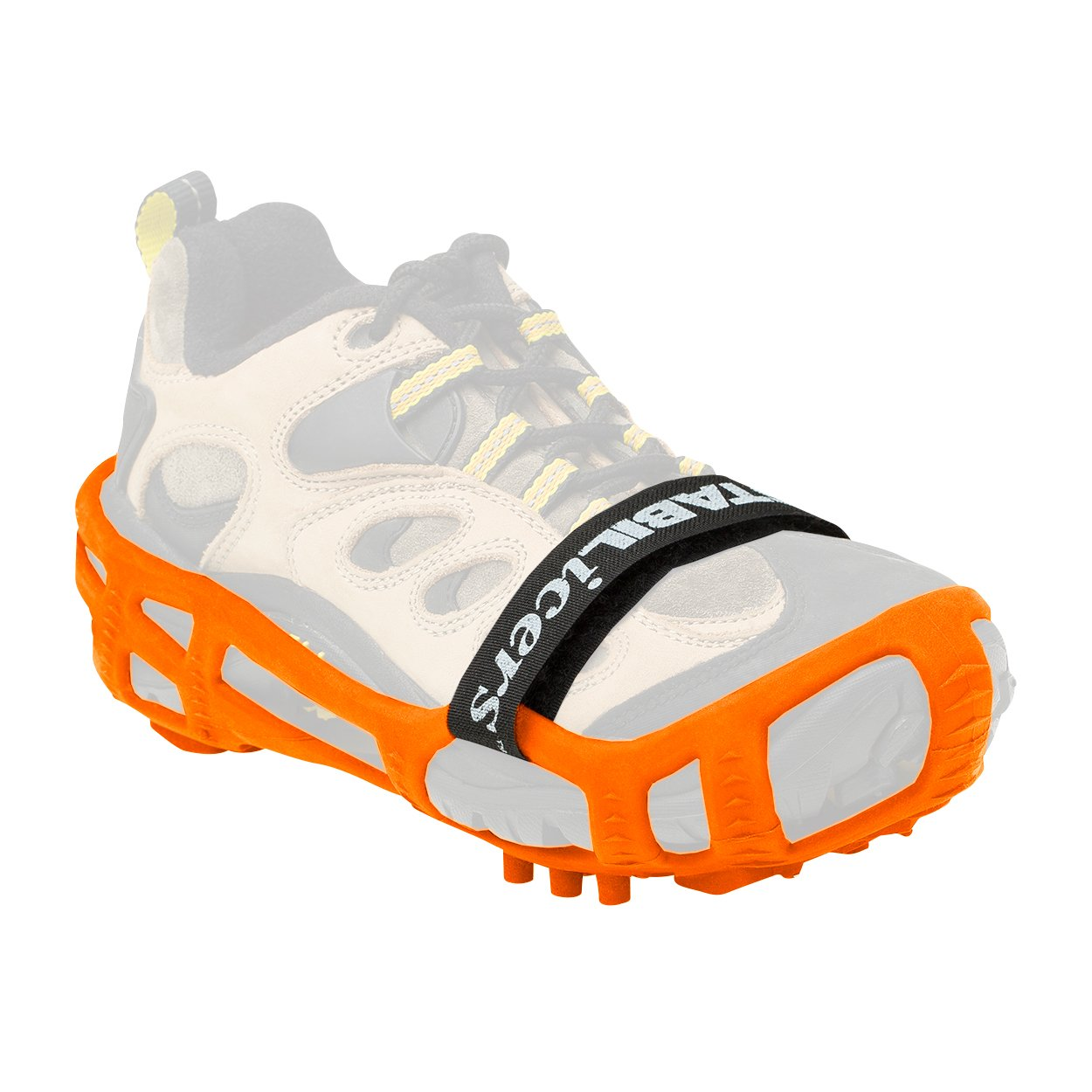 STABILicers Walk with Powder Strap, Snow and Ice Traction Cleats for Shoes and Boots, Made in USA, Orange, Size SM