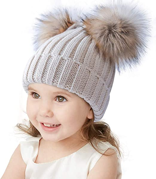 New Kid Child Wool RACCOON  Beanie Hat Fleece Lined cute gift ONE SIZE BROWN