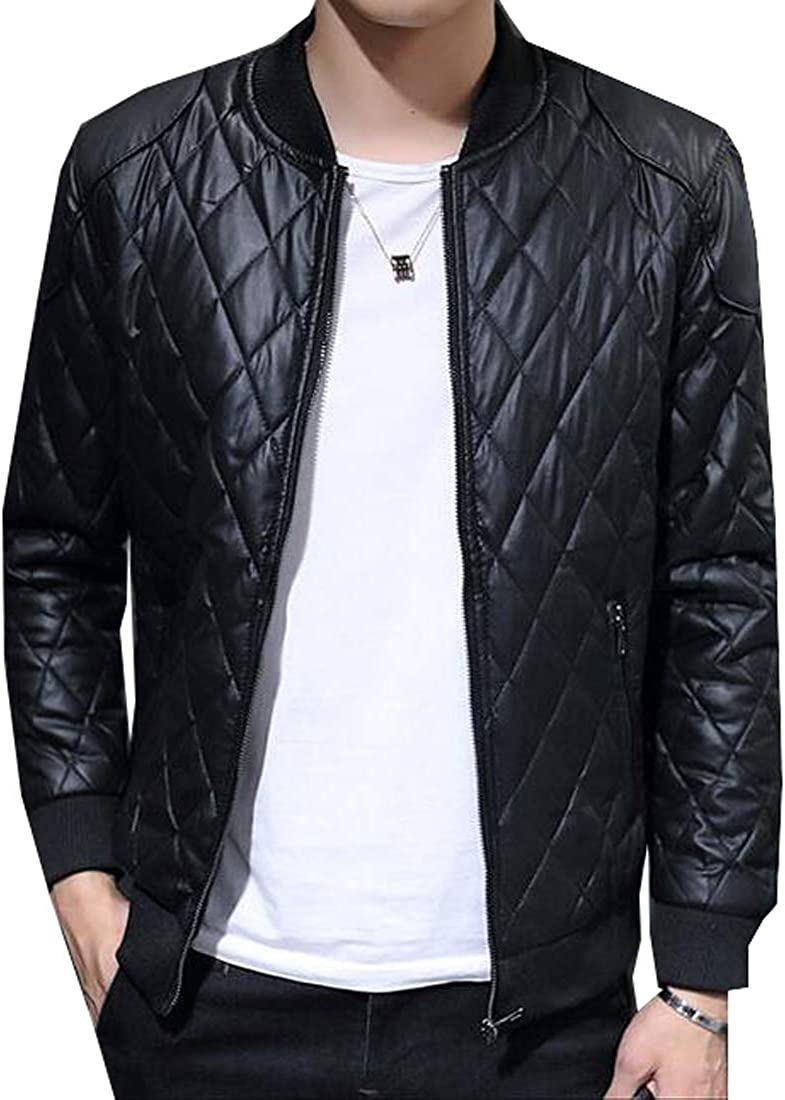 FSSE Mens Faux Pu Full-Zip Warm Solid Color Down Quilted Jacket Coat Outwear