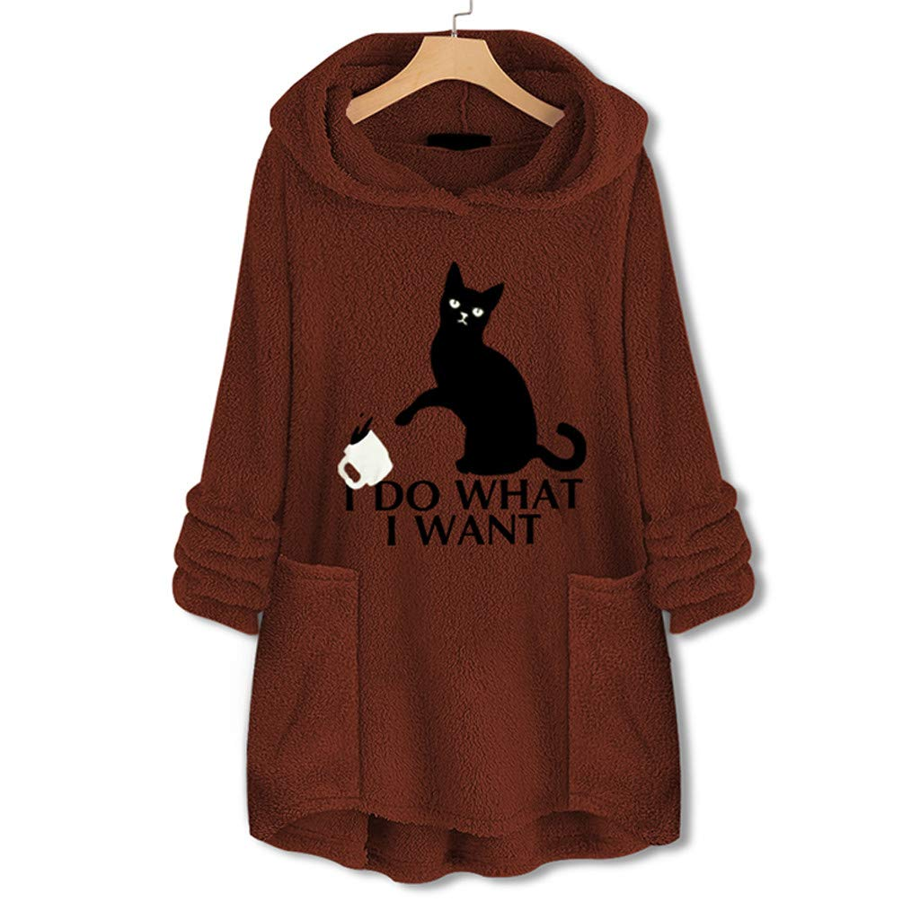 QUNANEN Women Fleece Embroidery Cat Ear Plus Size Hoodie Pocket Top Sweater Blouse Sweatshirt