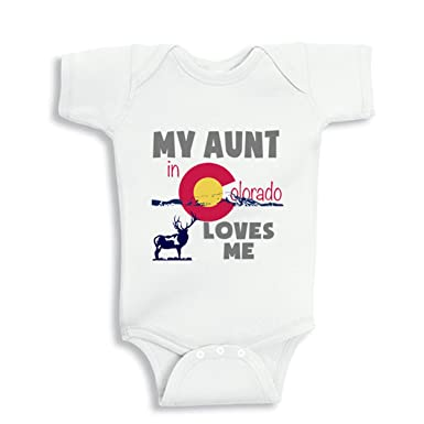 NanyCrafts Babys My Aunt in Colorado Loves me baby Bodysuit NB White