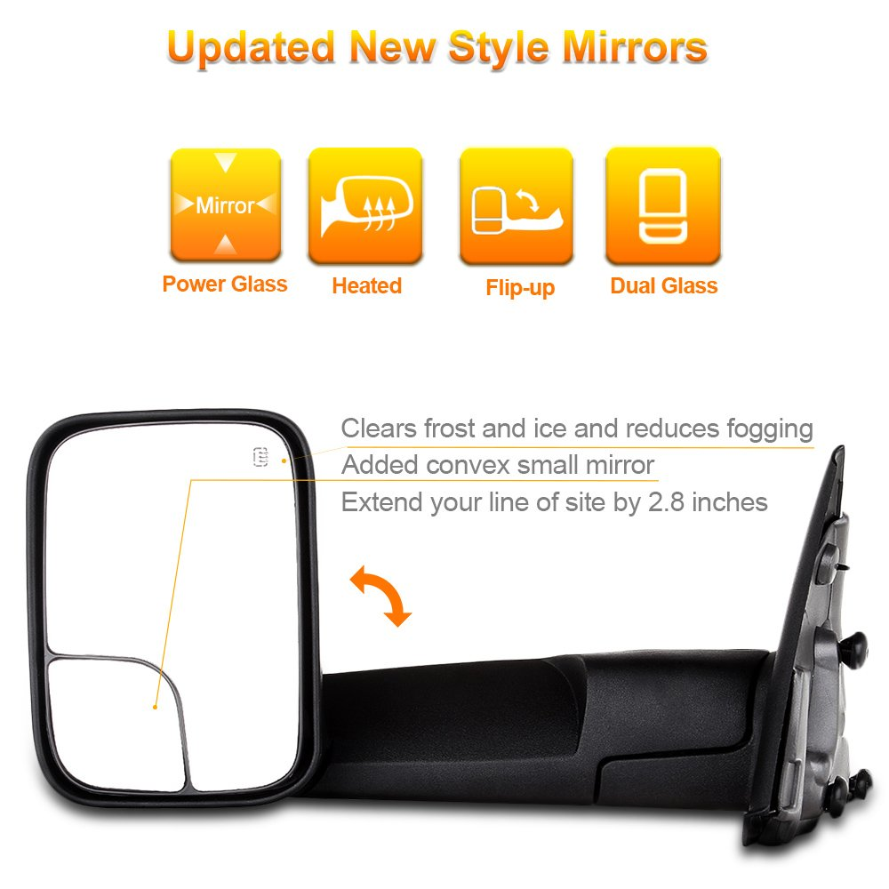 SCITOO Towing Mirrors Pair Set Manual Black Side View Mirrors fit 94-01 Dodge Ram 1500 94-02 Ram 2500 3500 Manual Control Feature w//Support Brackets 050722Scitoo