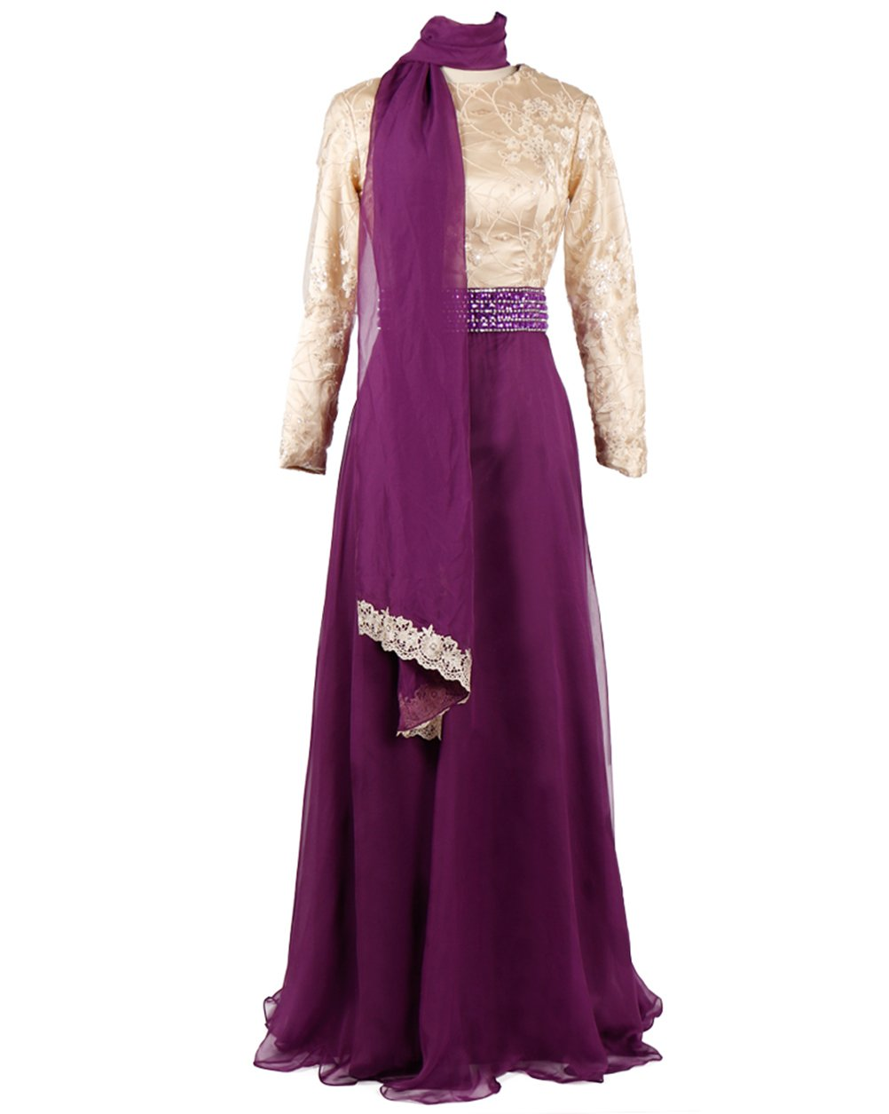 Oyeahbridal Muslim Women Dress Hijab Kaftan Bow Evening Prom Formal Gown Purple US size 14