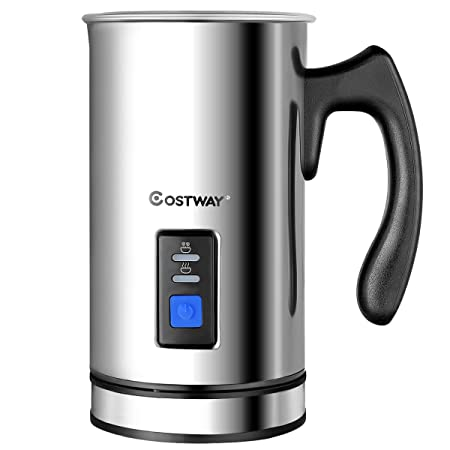 COSTWAY Milk Frother, Electric Automatic Stainless Steel Non-Stick Interior, Milk Steamer Foamer for Coffee, Latte, Cappuccino with Handheld Stainless-Update