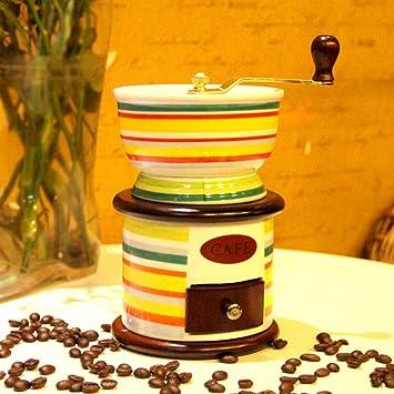 Molinillo de café manual molinillo de café manual de cerámica antigua con juego de molienda y agarrador: Amazon.es: Hogar