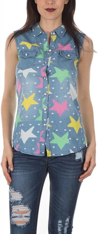 Ideal Shoes Swan – Chemise en jean sin mango con diseño estrellas loraly azul medium: Amazon.es: Ropa y accesorios