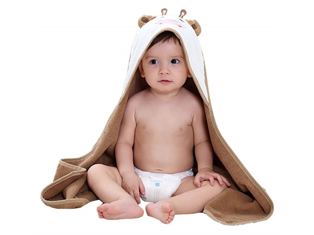 Wesource Activates Children Cow Cartoon Animal Pattern Hooded Robe Bath Towel Baby Cloak -Size Approx 8080cm(Coffee color)