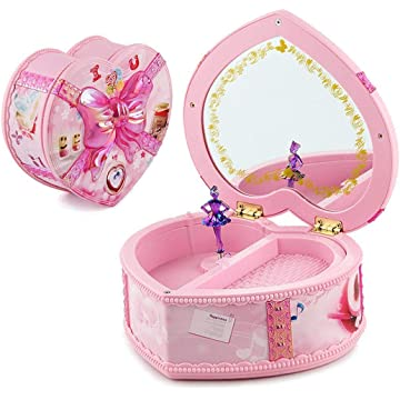 Jingjing1 Rotate Music Box, Heart Shaped LED Light Luminous Musical Box Musical Jewelry Storage Box with Mirror and Twirling Fairy Gift for Christmas, Birthday, Valentine's Day