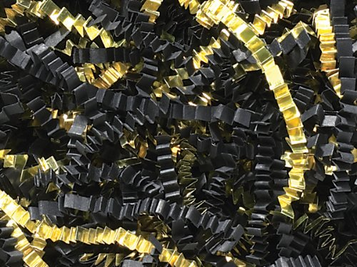 Pack of 1, Black & Gold Crinkle Cut Paper 40 Lb Spring-Fill Shred for Baskets, Basket Boxes, Bags, Containers & Nested Boxes by Generic