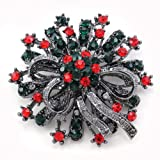 Christmas Red and Green Wreath Flower Brooch Pin Pendant Necklace Compatible