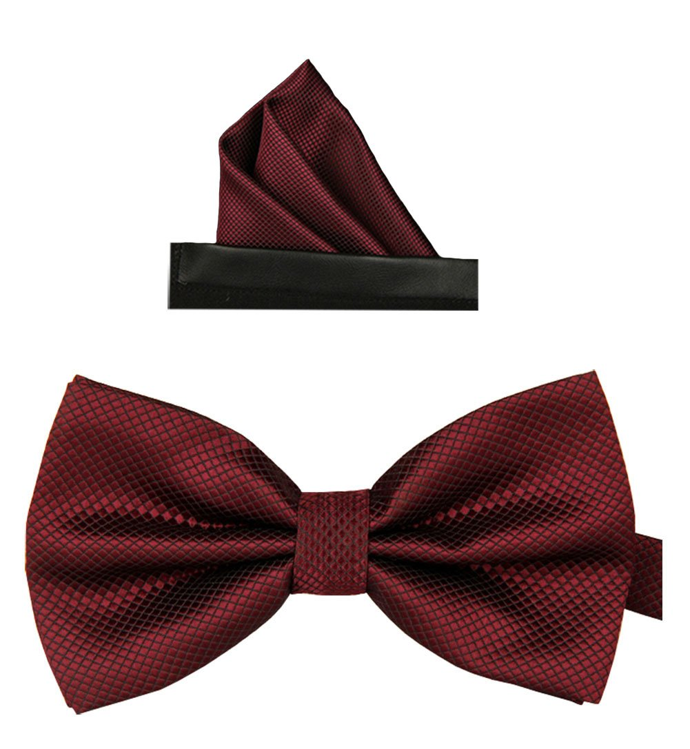 Simpowe Men's Formal Tuxedo Banded Pre-Tied Bow Tie Set (One Size, Wine)