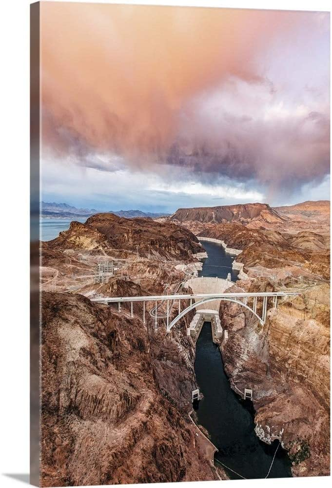 """GREATBIGCANVAS Aerial View of The Hoover Dam and Bridge Canvas Wall Art Print, 16""""x24""""x1.5"""""""
