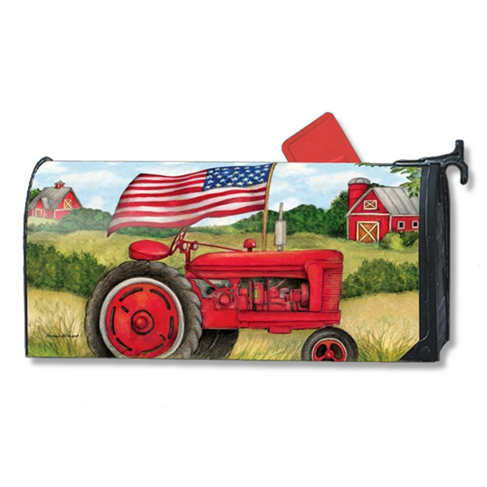 Patriotic Tractor LARGE MailWraps Mailbox Cover #