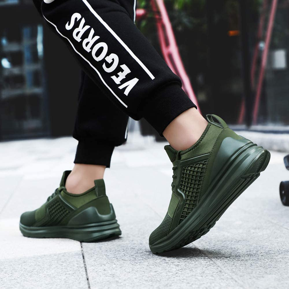 7,Army Green Mens Fashion Shoes,Men/'s Flat Lace-Up Sport Running Shoes Wear Resistant Solid Color Sneaker,Sneaker for Men