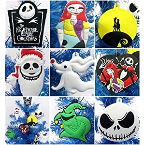 """Nightmare Before Christmas 8 Piece Christmas Tree Ornament Set Featuring Jack Skellington and Friends - Around 2.5"""" to 3.5"""" Tall 50"""