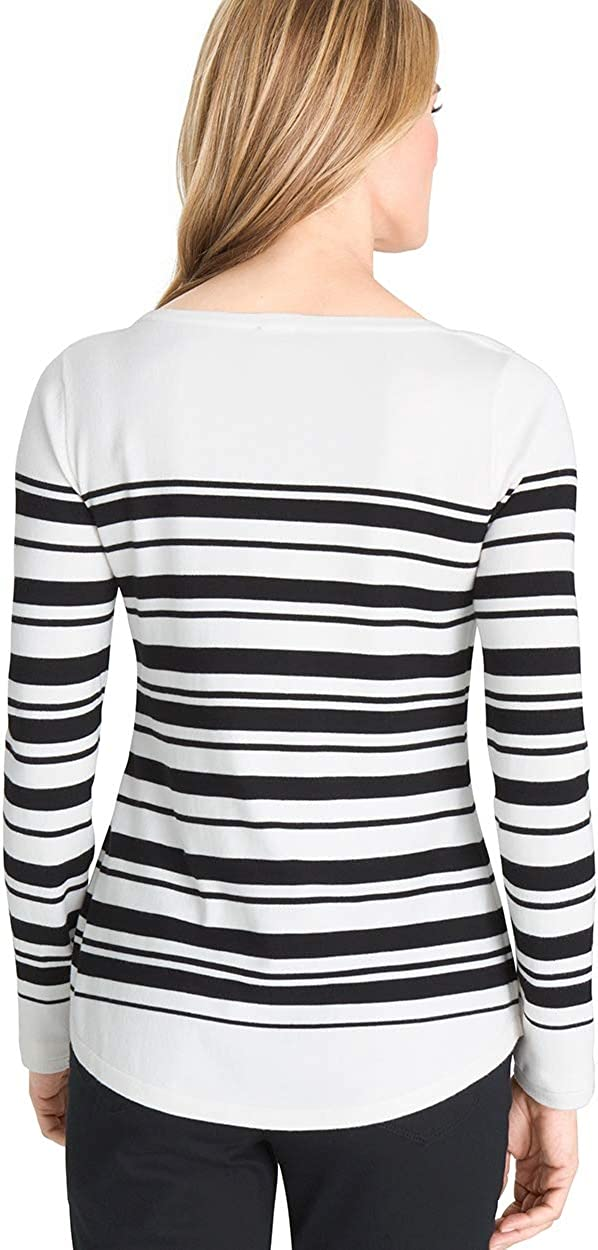 Chicos Women/'s Bateau Neck Shirttail Hem Everyday Pullover Classic Solid Sweater