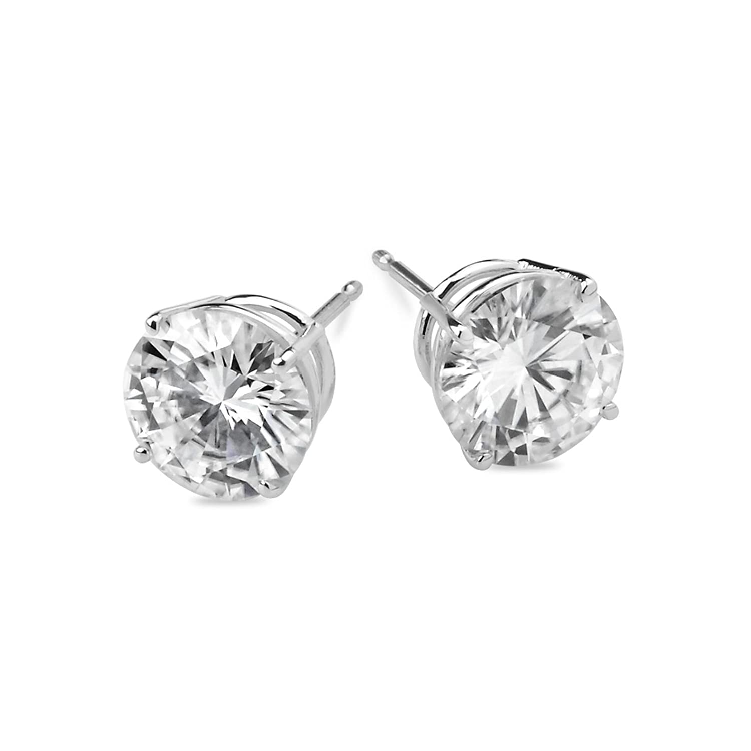 platinum cushion f cut one forever e stud vs earrings in moissanite