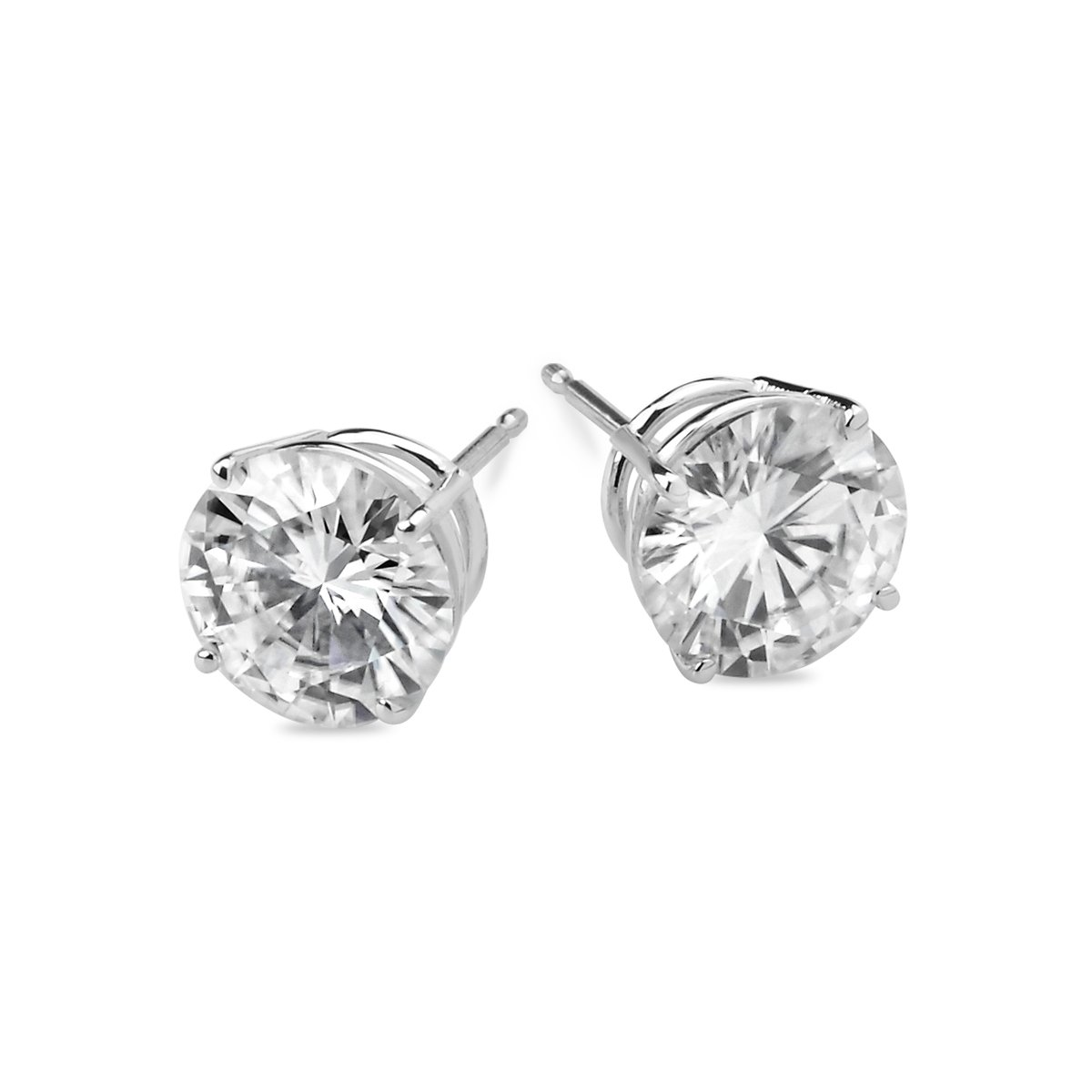 14k White Gold 5mm Round Forever Brilliant Moissanite Stud Earrings 1.0cttw DEW By Charles & Colvard