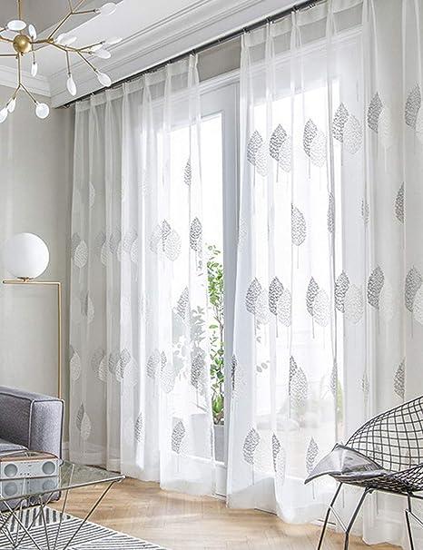 Lactraum Vorhänge Wohnzimmer Transparent Weiß mit Ösen Bestickt Eukalyptus  Blätter Voile 8 x 8cm