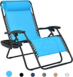 Patio Watcher Oversized Zero Gravity Chair Folding Recliner Chair with Cup Holder Accessory Tray and Removable Pillow for Outdoor Yard Porch Blue 1 Set