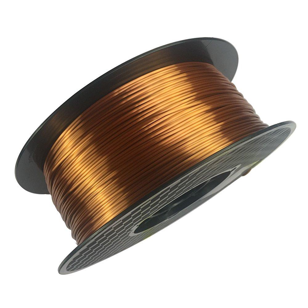 Silk Copper 3D Printer Filament PLA 1.75 mm 1 KG (2.2 LBS) Spool 3D PLA Printing Material Silky Like Shiny Metal