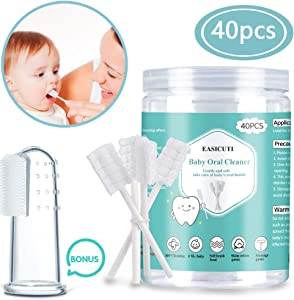 Baby Toothbrush, Baby Tongue Cleaner, 40Pcs Disposable Infant Toothbrush Clean Baby Mouth, Gauze Toothbrush Infant Oral Cleaning Stick Dental Care for 0-36 Month Baby + Free 1Pcs Finger Toothbrush
