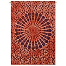 """Mandala Wall Hanging Indian Cotton Tapestry Poster Size Orange Boho Decor Throw 42"""" x 30"""" Inches"""