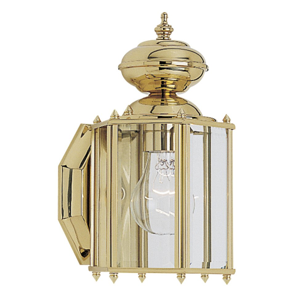 Sea Gull Lighting 8507-02 Classico One-Light Outdoor Wall Lantern with Clear Beveled Glass Panels, Polished Brass Finish