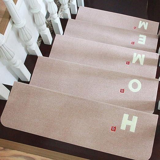 Escalera Alfombras de madera maciza Alfombras de escalera de plástico Alfombras autoadhesivas Casa Alfombras de escalera Alfombras luminosas (Color : A(10piece) , Tamaño : 70*22*4.5 cm) : Amazon.es: Hogar