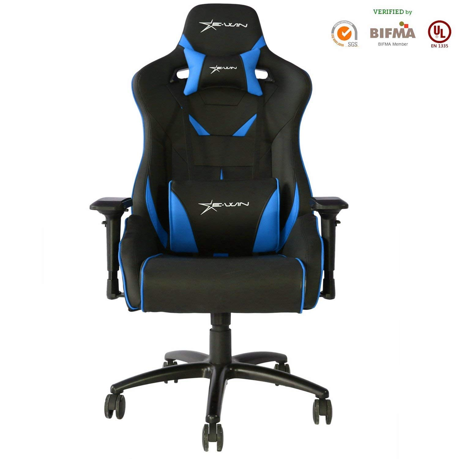 E-WIN Gaming Chair Ergonomic High Back PU Leather Racing Style with Adjustable Armrest and Back Recliner Swivel Rocker Office Chair (XL Blue) by E-WIN