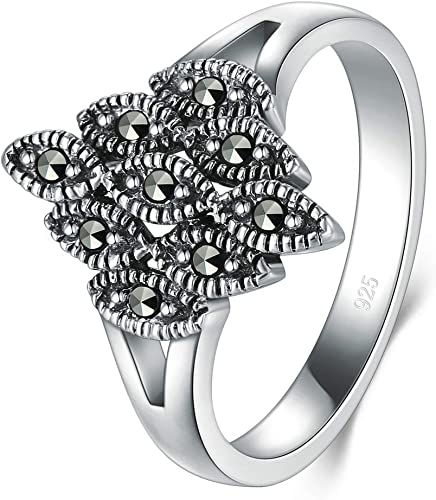 Marcasite White Iron Pyrite Wedding Band Ring 3mm Size 4-12 BORUO 925 Sterling Silver Ring