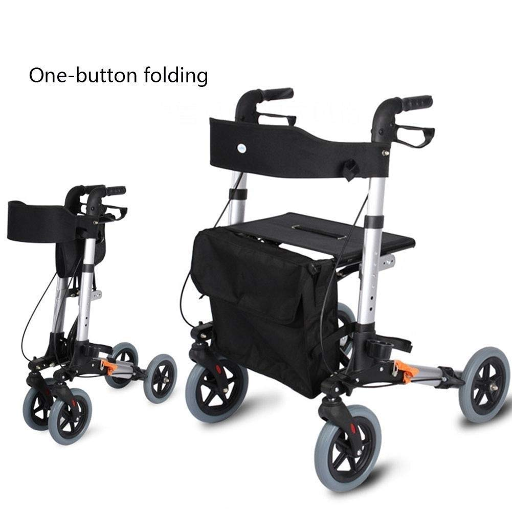 Drive Four Wheel Walker Rollator,Adjustable Handle Height Includes Basket with Lockable Brakes Seniors Auxiliary Walking Safety Walker by YL WALKER (Image #5)