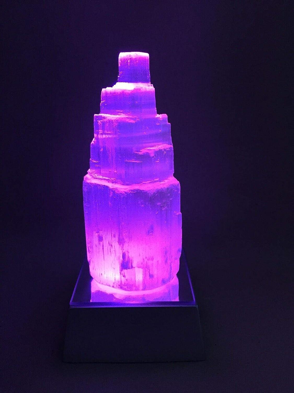 Morocca Selenite Lamp Selenite Point Tower Lamp Gemstone Specimen W//LED Light Base Reiki