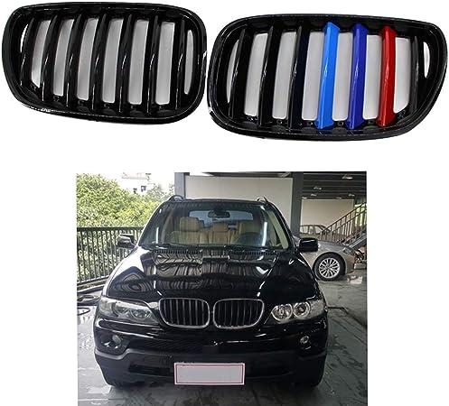 fgghfgrtgtg M-Couleur Voiture Kidney Avant Gloss Black Car Grillages Accessoire pour BMW X5 E53 2004-2006