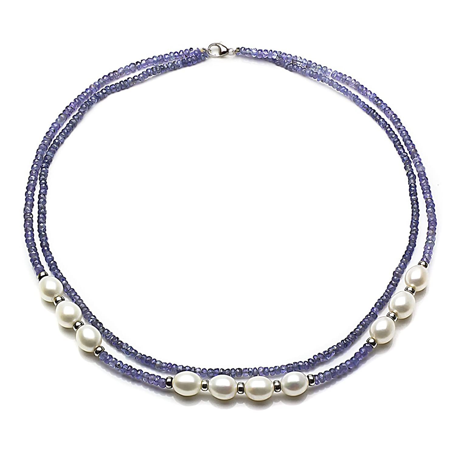 Sterling Silver 8-8.5mm White Freshwater Cultured Pearl 3mm Simulated Tanzanite 2-rows Necklace