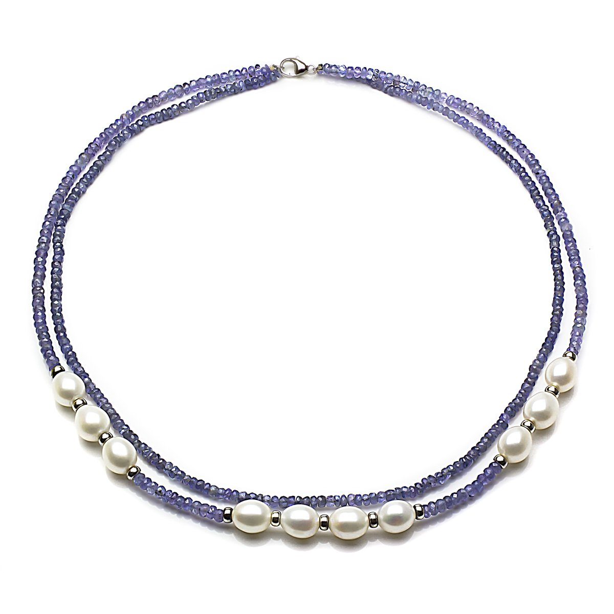 Sterling Silver 8-8.5mm White Freshwater Cultured Pearl 3mm Simulated Tanzanite 2-rows Necklace, 18''