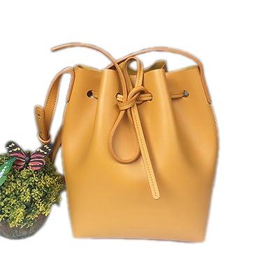 0b78523631f3 Amazon.com: Bucket Bag Mansur Women Genuine Leather Shoulder Bag ...