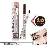 RAPIDBROW Tattoo Eyebrow Pen with Four Tips Long-lasting Waterproof Brow Gel for Eyes Makeup (#2 Brown)