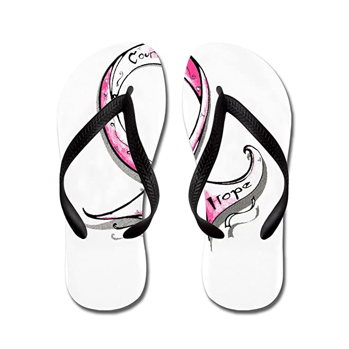68993c914611c5 Royal Lion Men s Cancer Pink Ribbon Courage Love Hope Black Rubber Flip  Flops Sandals 6-