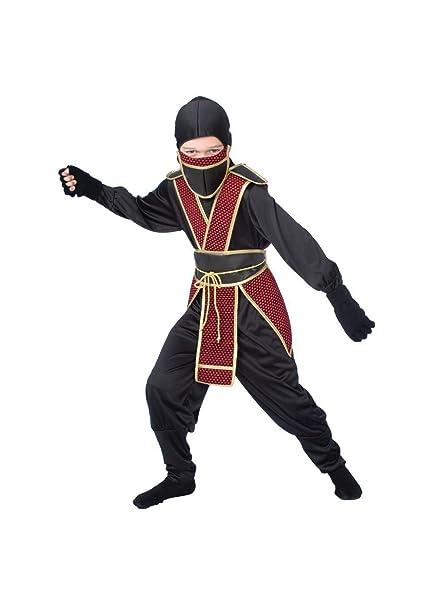 Amazon.com: Big Boys Samurai Ninja Costume, Negro: Clothing