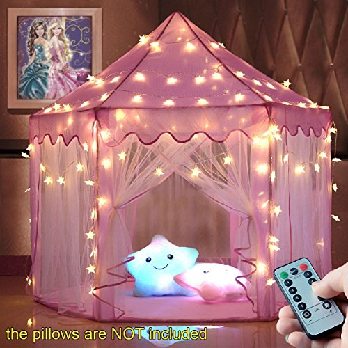 windpnn Kids Play Tent, Pink Princess Castle Play House, Large Light Up Playhouse w/ Remote LED Twinkle Star Light, Top Toy Gift Ideas for Girls/Boys/Toddlers/Baby (55